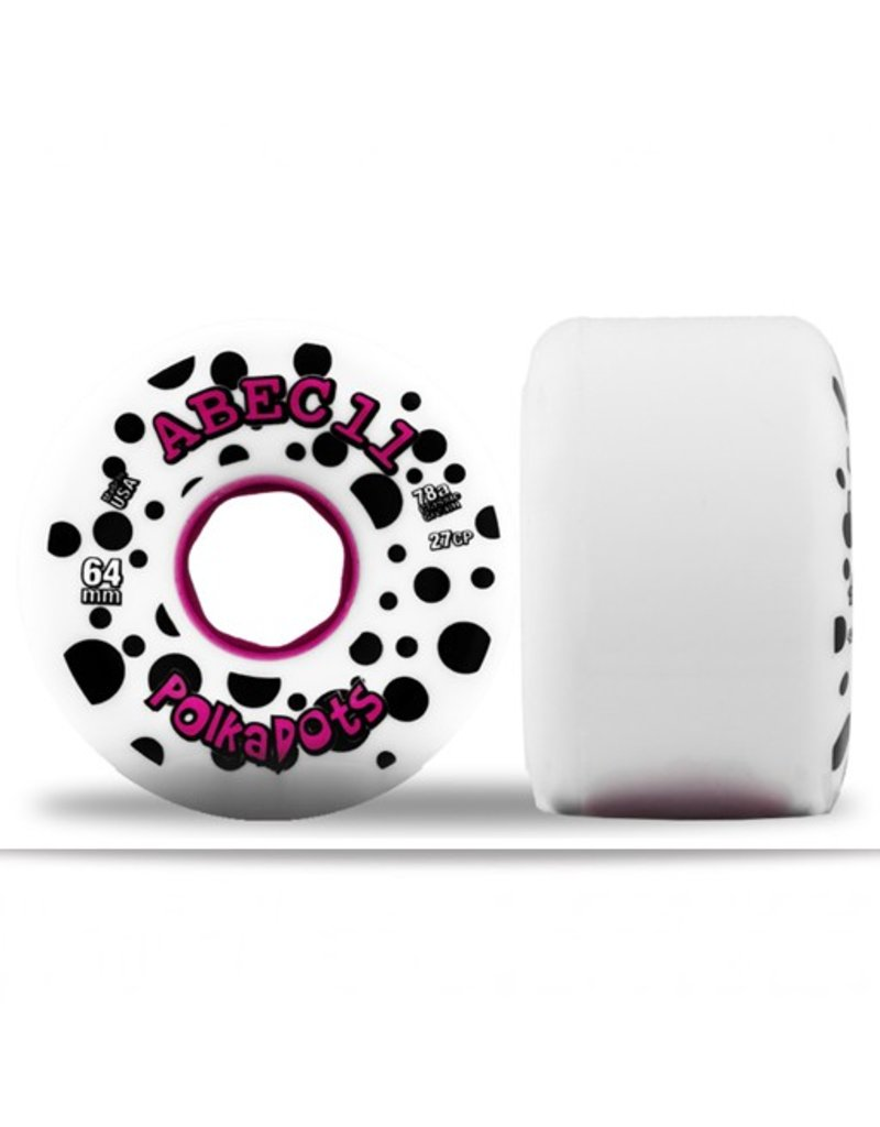 ABEC 11 ABEC 11- Polka Dots- 64mm- White/Pink- 78a- Wheel