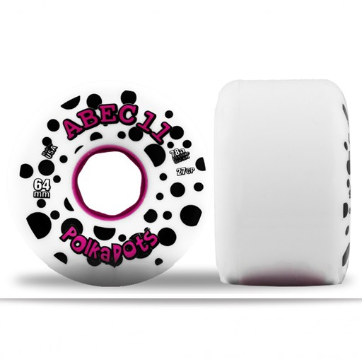 ABEC 11 ABEC 11- Polka Dots- 64mm- White/Pink- 78a- Wheel