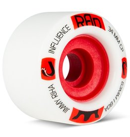 RAD RAD- Influence- 63mm- 77a- White with Red Core- Jimmy Riha- Wheels