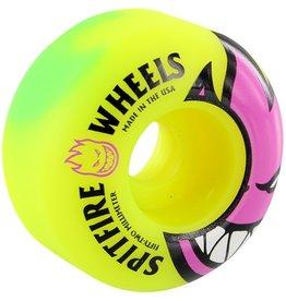 Spit Fire Spitfire- Bighead Toxic Swirl- 54mm- 99a- Grn/Ylw/Pnk- Wheels