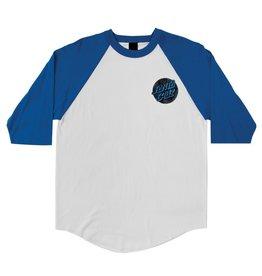 Santa Cruz Santa Cruz Skate- Warp Dot Raglan- 3/4- White/Royal- T-shirts