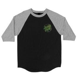 Santa Cruz Santa Cruz Skate- Warp Dot Raglan- 3/4- Black/Heather- T-shirts
