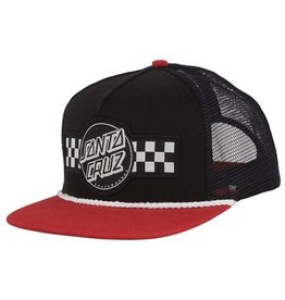Santa Cruz Santa Cruz Skate- Contest Trucker Mesh- Black/Cardinal- Hats