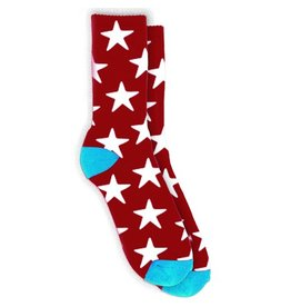 Tired Tired- Stars- Red- Crew Socks