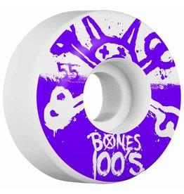 Bones Bones- Original Formula- 55mm- 100a- White with Purple- Wheels