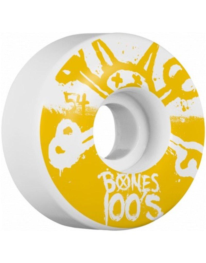Bones Bones- Original Formula- 54mm- 100a- White with Yellow- Wheels
