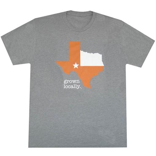 Aksels Aksels- Texas Grown Locally- Burnt Orange- Grey- T-Shirt