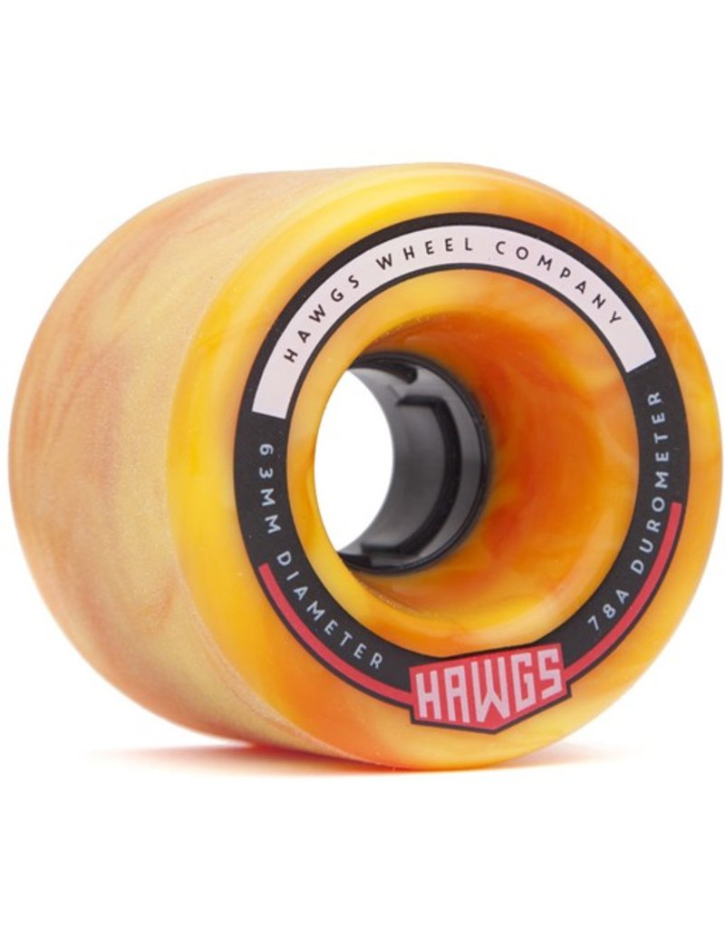Landyachtz Landyachtz- Fattie Hawgs- Stone Ground- 63mm- 78a- Orange yellow Swirl- 2017- Wheels