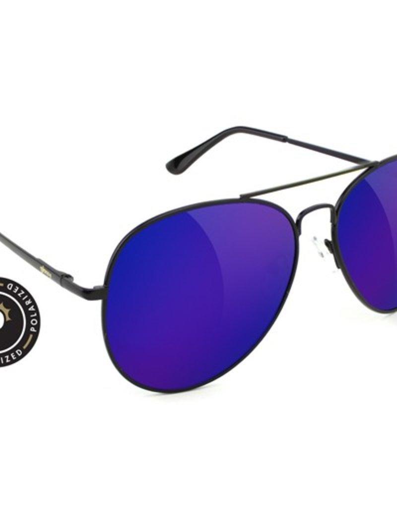 Glassy Sunglasses Glassy- Daewon- Polarized- Black/Blye Mirror- Sunglasses