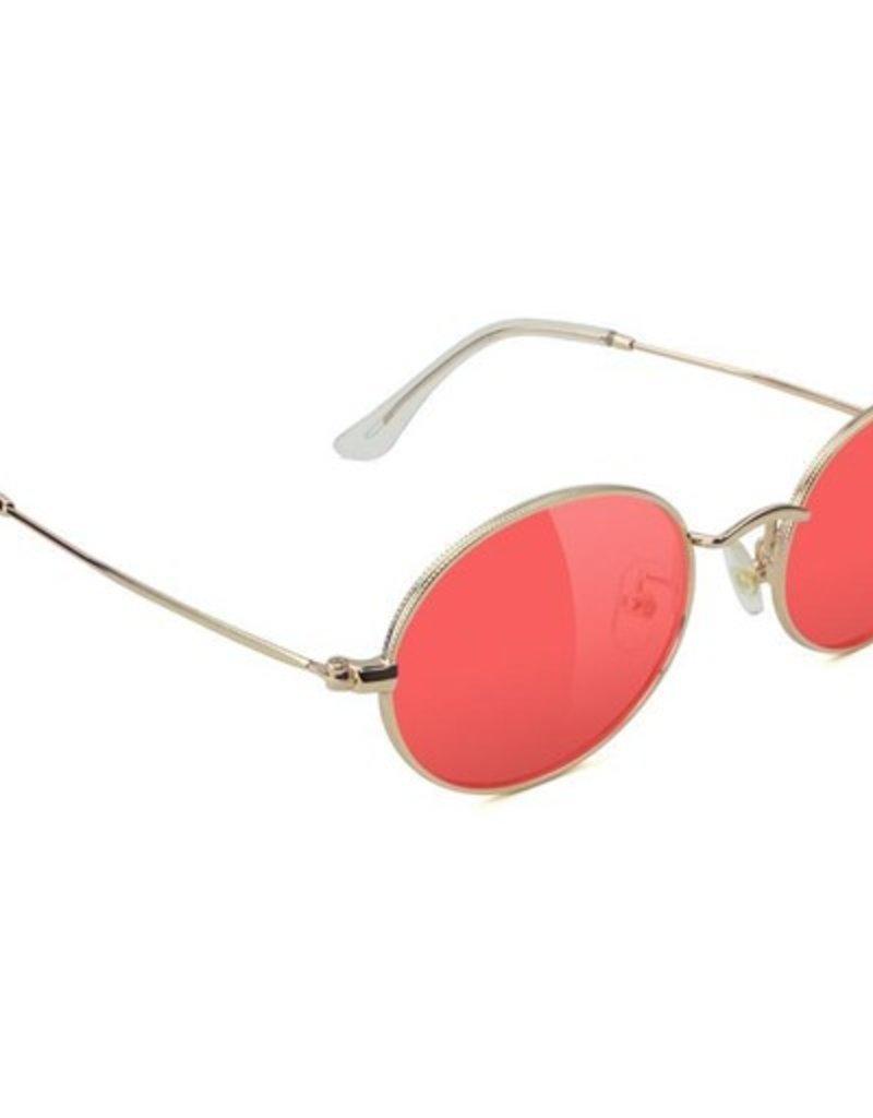 Glassy Sunglasses Glassy- Stark- Gold/Red Lens- Sunglasses
