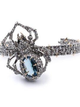 Crystal Encrusted Spider Cuff Bracelet