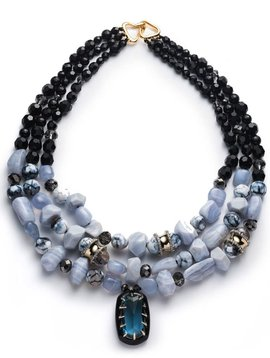 Multi Strand Stone Bib Necklace