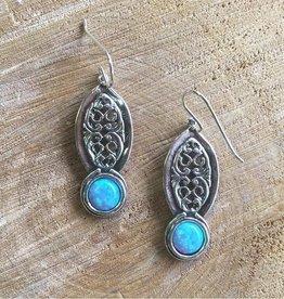 Opal Filigree Silver Earrings