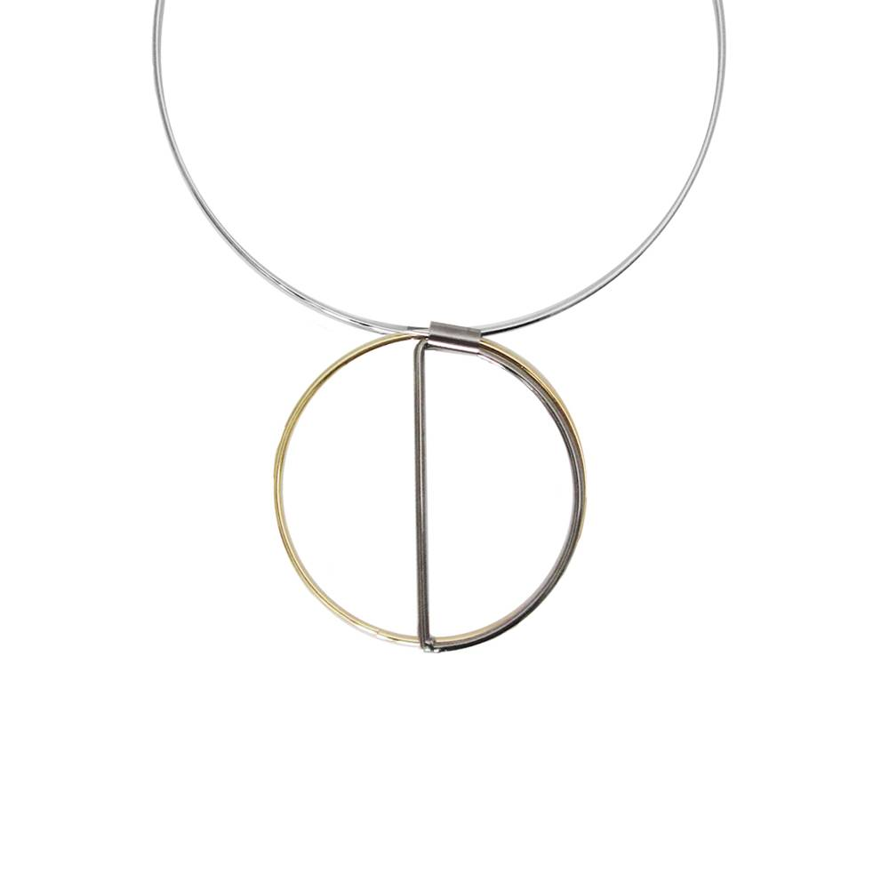 Caracol Silver Tone Round Choker w Gold and Gunmetal Circle