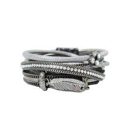 Caracol Gray Wrap Bracelet w Feather