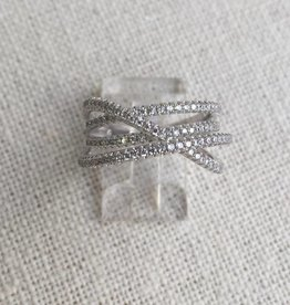 House of Jewellery Criss Cross CZ Band Ring