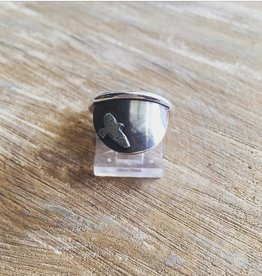 Olive Cedar Sterling Half Moon Ring - Bird