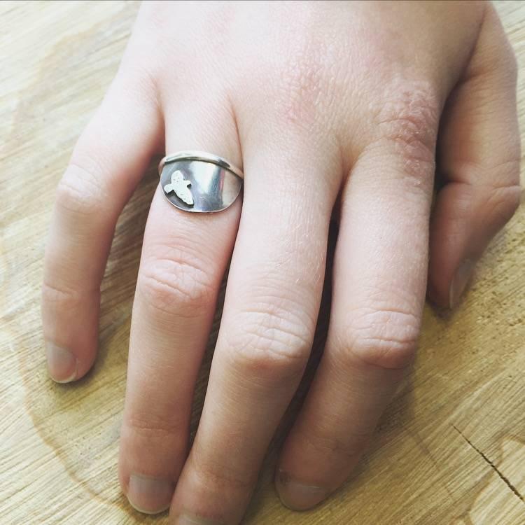 Olive Cedar Sterling Half Moon Ring - Bird