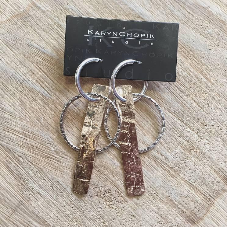 Karyn Chopik Bronze Bar and Sterling Circle Earring