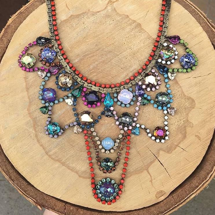 Tova Brass Plated Bib Necklace w Swarovski Crystals