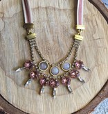 Tova Gold Plated Brass Pink Necklace w Swarovski and Leather