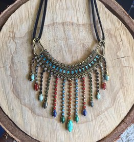 Tova Oxidized Gold Plated Brass Necklace w Multi Coloured Swarovski Crystals and Stones
