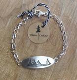 Olive Cedar Sterling Chain Bracelet w Pine Trees