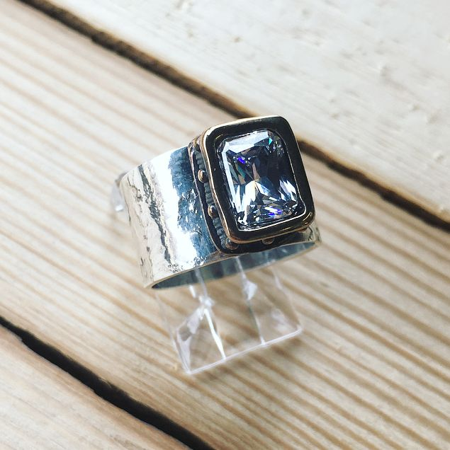 sterling bronze and cubic ring hi ho silver
