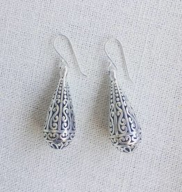 Round Teardrop Earring Silver Filigree