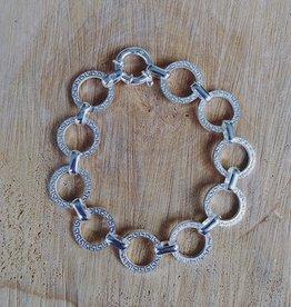 House of Jewellery Sterling Silver Round Link w Greek Key Bracelet