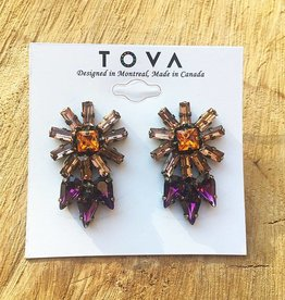 Tova Antique Style Brass Plated Studs With Swarovski Crystals