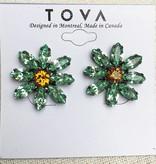 Gunmetal Plated Daisy Studs With Swarovski Crystals