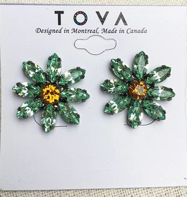 Tova Gunmetal Plated Daisy Studs With Swarovski Crystals