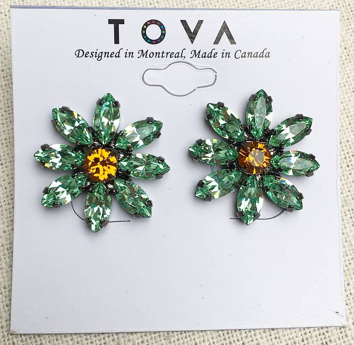 Tova Gunmetal Plated Daisy Studs With Swarovski Crystals