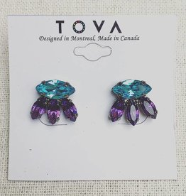Tova Gunmetal Plated Studs With Swarovski Crystals