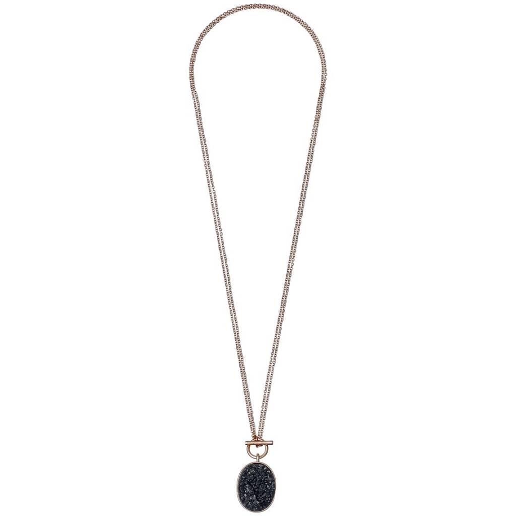 Pilgrim Pilgrim Rose Gold Plated Adjustable Druzy Necklace