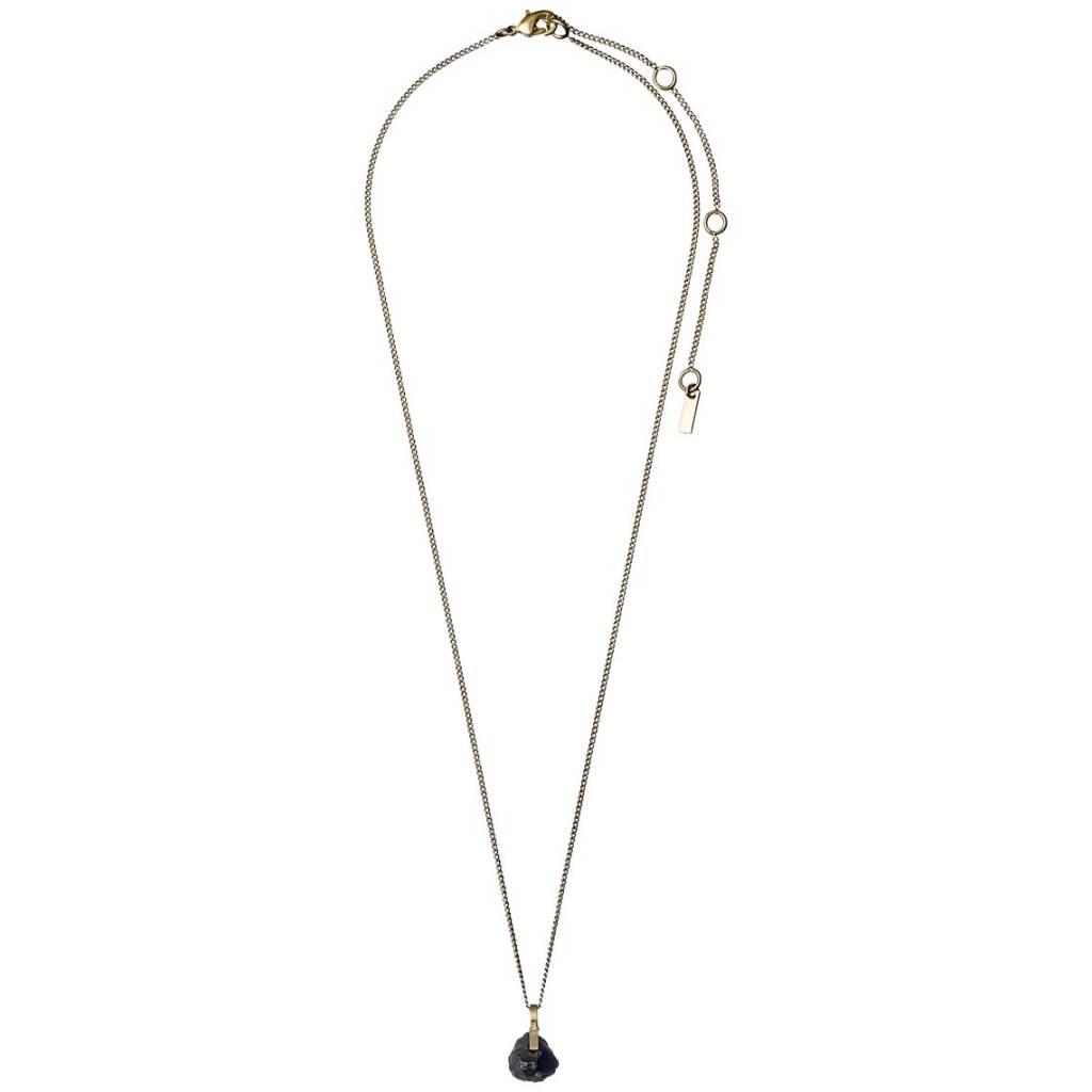 Pilgrim Pilgrim Brushed Gold Plated Hematite Drop Necklace