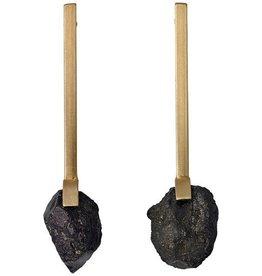 Pilgrim Pilgrim Brushed Gold Plated Stick Stud With Hematite