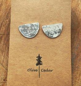 Olive Cedar Hammered Half Moon Stud