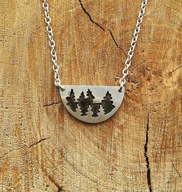 Olive Cedar Half Moon Necklace: Birch