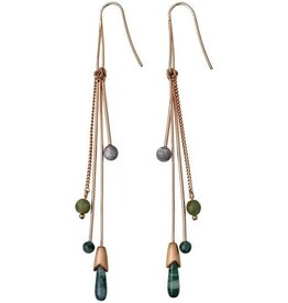 Pilgrim Pilgrim Rose Gold Plated Jade Dangle Earings