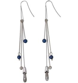 Pilgrim Pilgrim Lapis and Semi Precious Stone Dangle Earrings