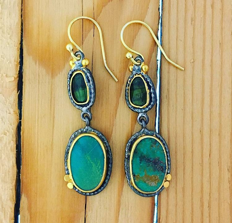 TYKHE Turquoise and Green Tourmaline Earrings