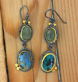 TYKHE Turquoise and Green Saphire Earrings