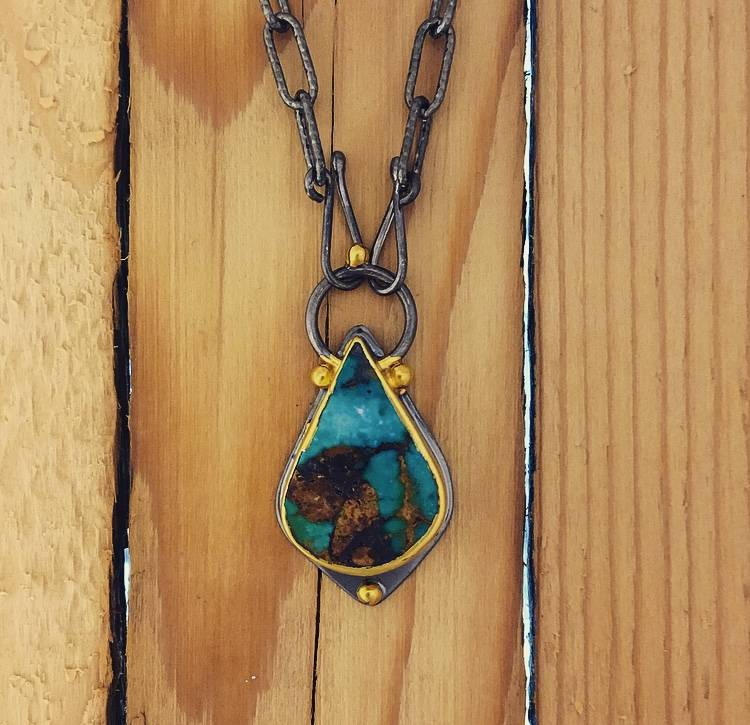 TYKHE Turquoise Pendant With Long Linked Chain