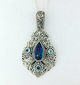 "Sarda Mystic Blue Quartz  & London Blue Topaz Pendant on 22"" Chain"