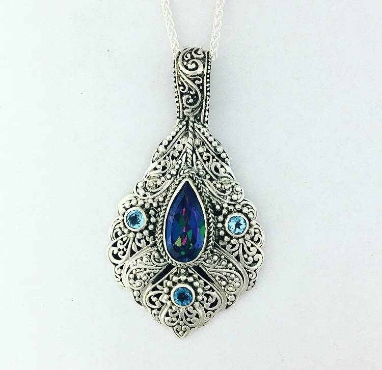 "Sarda Mystic Blue Quartz  & London Blue Topaz Pendant on 22""  Spiga"