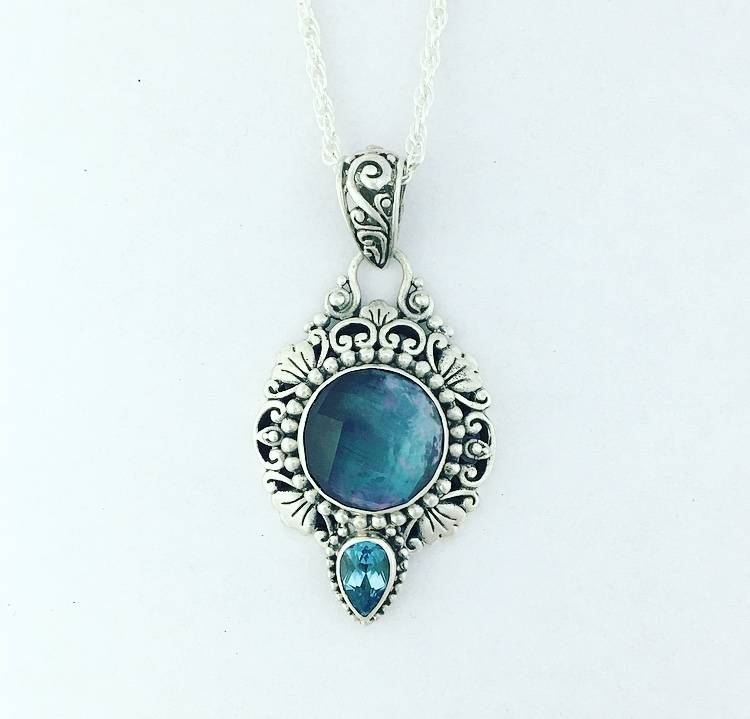 "Sarda Onyx/Mother of Pearl Triplet & Blue Topaz Pendant on 24"" Wheat Chain"