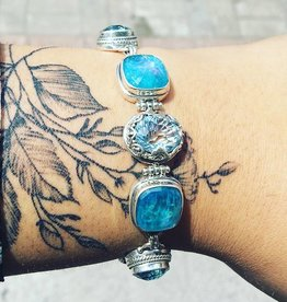 Sarda Sky Blue/Glaicier Topaz, Neon Apitite Mother of Pearl, Quartz Bracelet