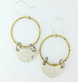 Pax Hanging Brass Hoop with Silver Semi Circle Drop
